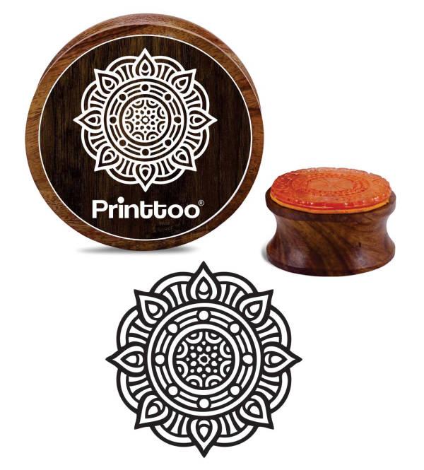 Round Wooden Rubber Stamps Personalised Rubber Stamp Floral Mandala Pattern Self Inking Return Address Stamp Craft /& Scrapbook Design